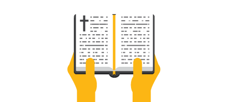 Hands with Bible open