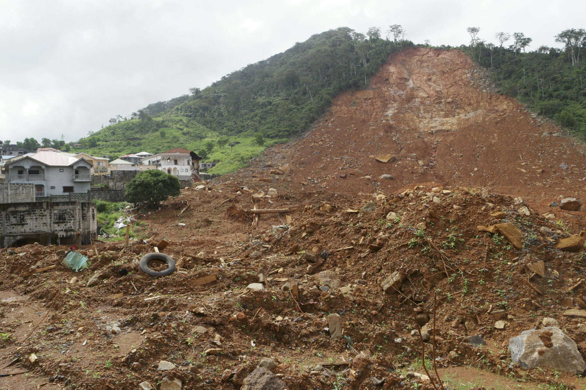 The site of mudslides in Sierra Leone