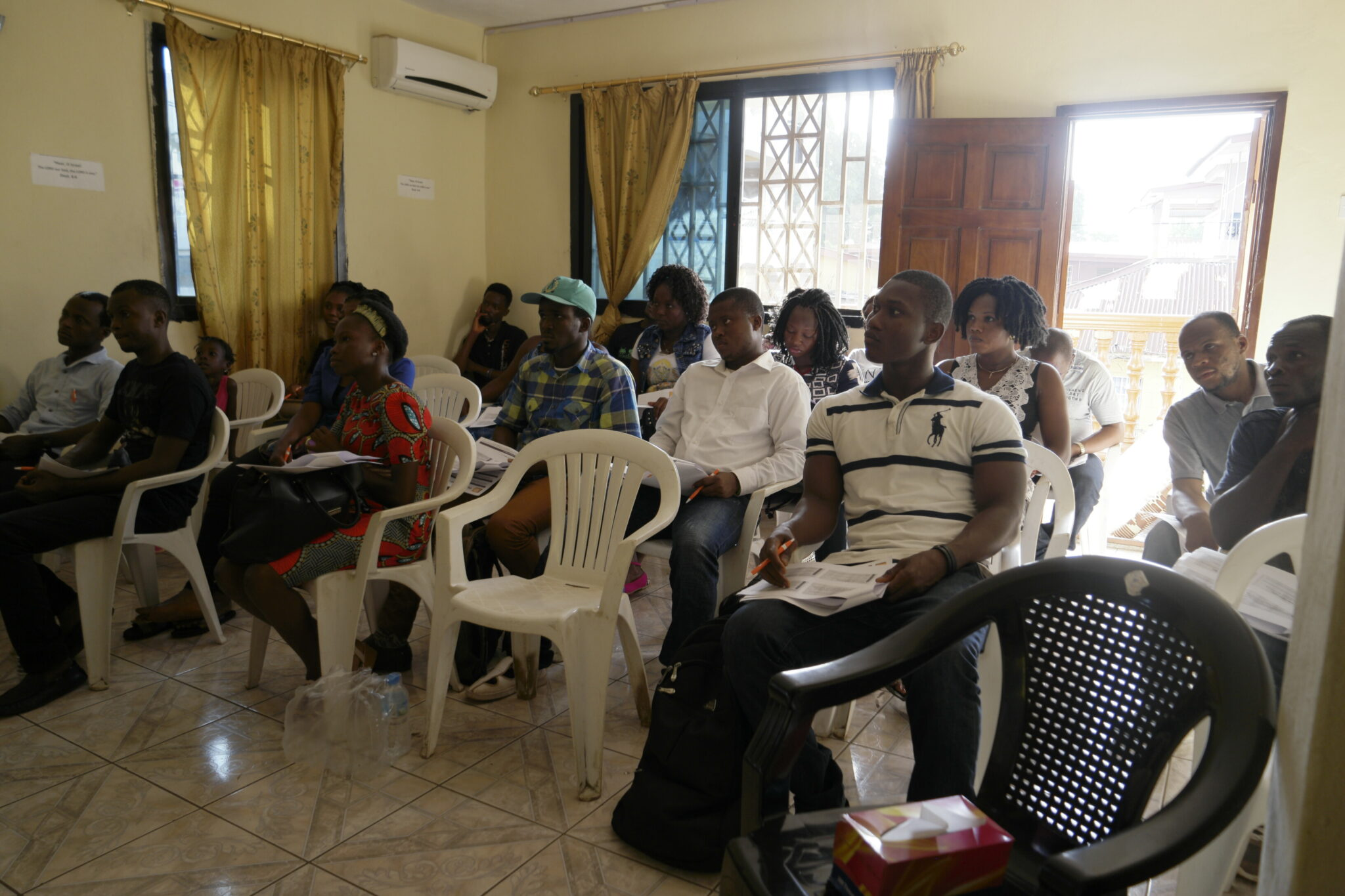Crossroads Sierra Leone volunteers meet for a training session.