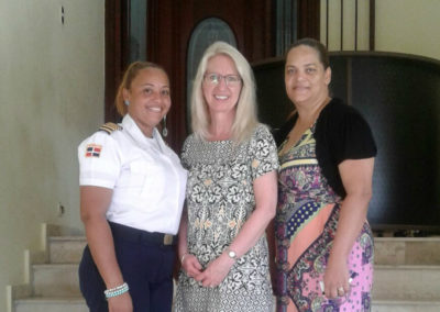 Officer Crismeyli (left), International Director Cynthia Williams (middle) and Director Dra. Luz Rojas (right)